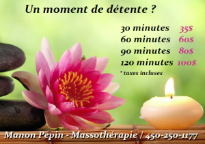 Massages prix indivuels
